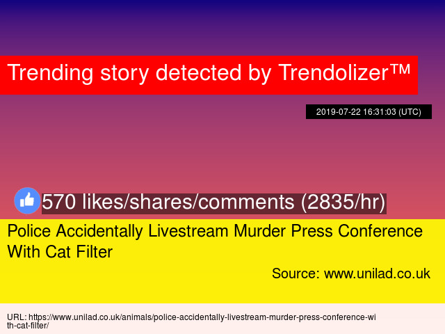78f19558c7d Police Accidentally Livestream Murder Press Conference With Cat Filter -  Stats