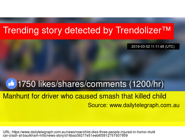 Manhunt for driver who caused smash that killed child