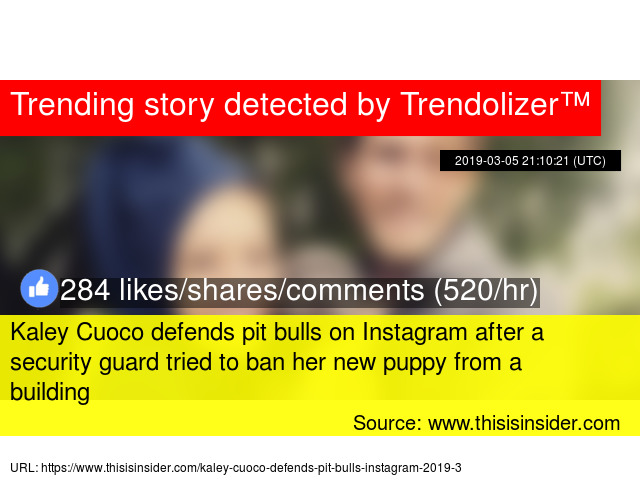 Kaley Cuoco defends pit bulls on Instagram after a security